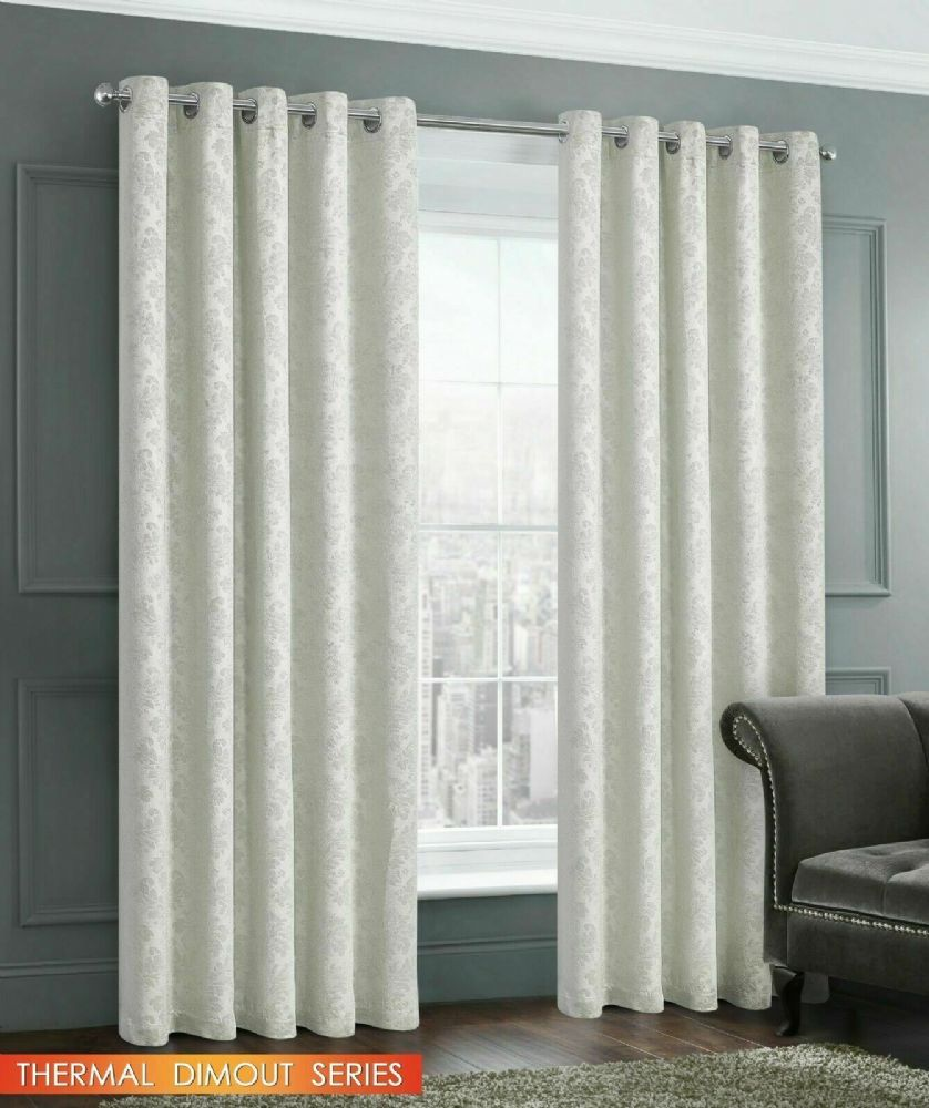 EMBOSSED DAMASK LIVINGROOM BEDROOM THERMAL BLOCKOUT RINGTOP EYELET CURTAINS CREAM
